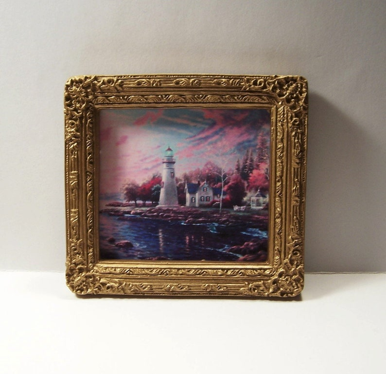 Miniature Framed Picture Painting Dollhouse Diggs Thomas Kinkade Lighthouse  1:12 Mini Seaside Scene Harbor Water Color