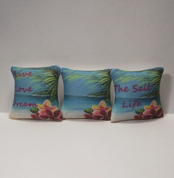 Miniature Decorative Throw Pillows Ocean Beach Sea Nautical Dollhouse Diggs 1:12