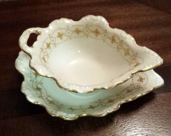 Antique Limoges France porcelain Gravy bowl and saucer  c.1891-1914