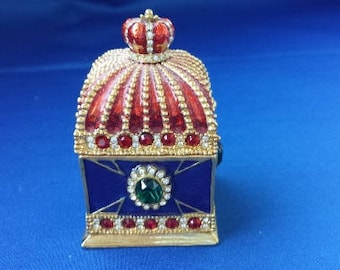Crowned Jeweled Trinket Box Surrounded by rich colored stones