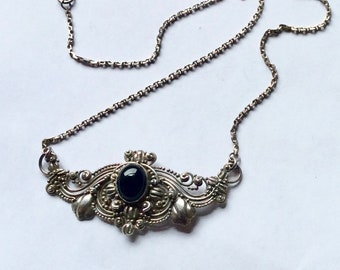 Vintage Black Onyx Filigree Balinese Sterling Silver Pendant Necklace