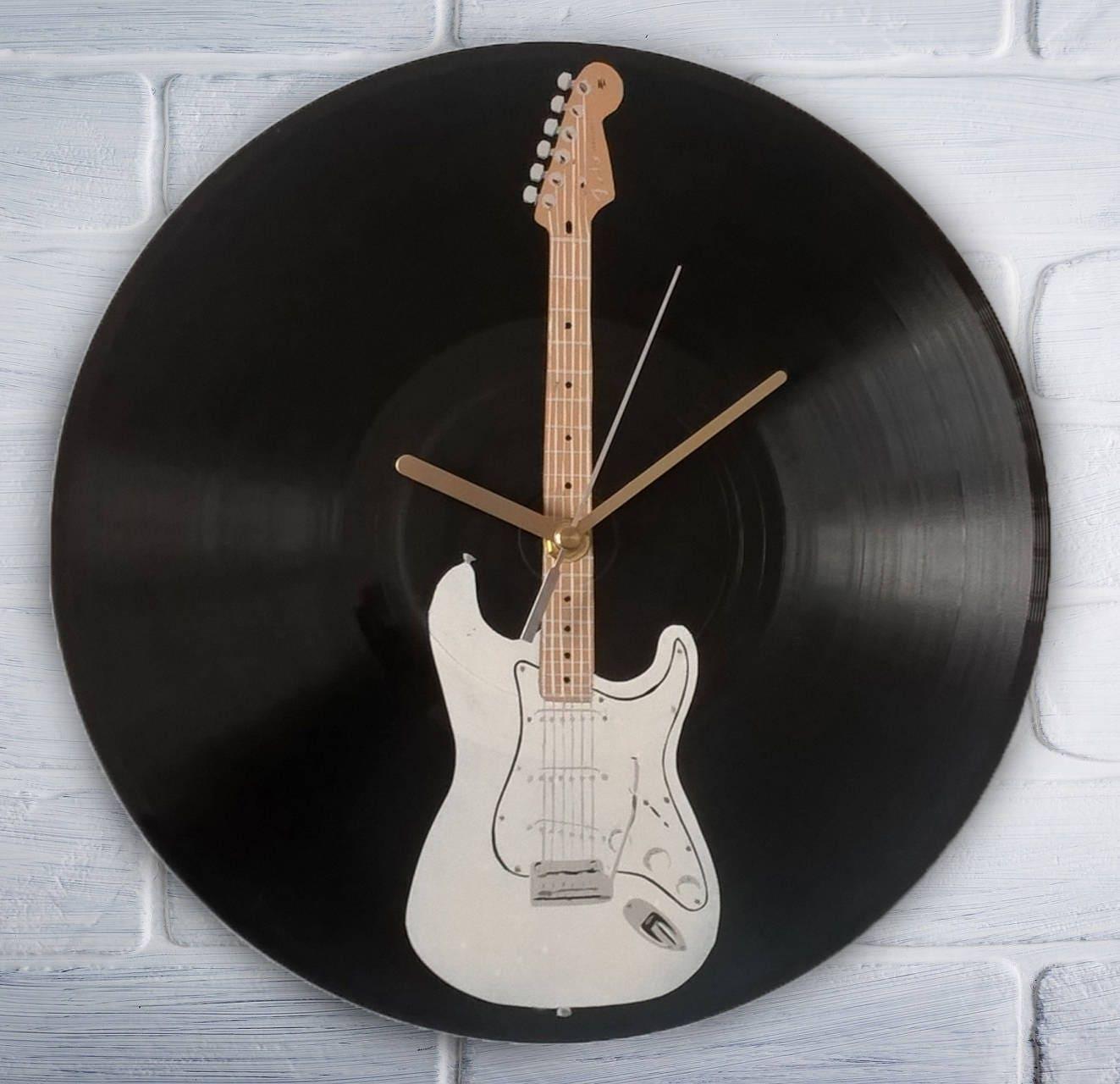 E-Gitarre Vinyl Schallplatte Uhr gemalt. Fender Stratocaster | Etsy