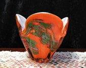 Hand blown glass art bowl , Signed Fred Roberts