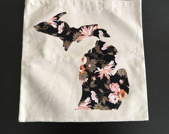 Floral Michigan Tote Bag