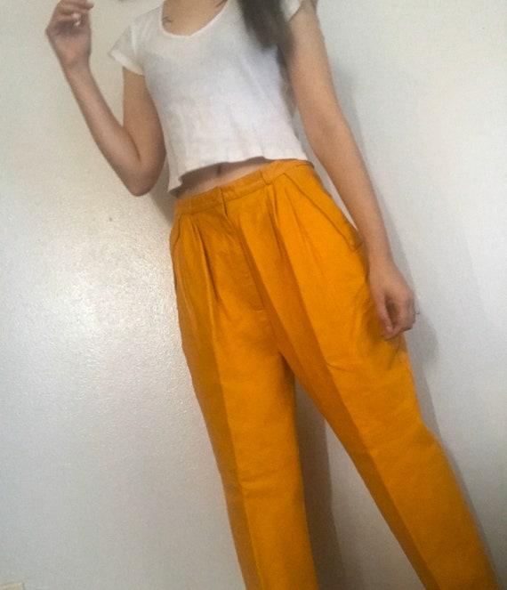 Mustard Yellow Leather Vintage Pants