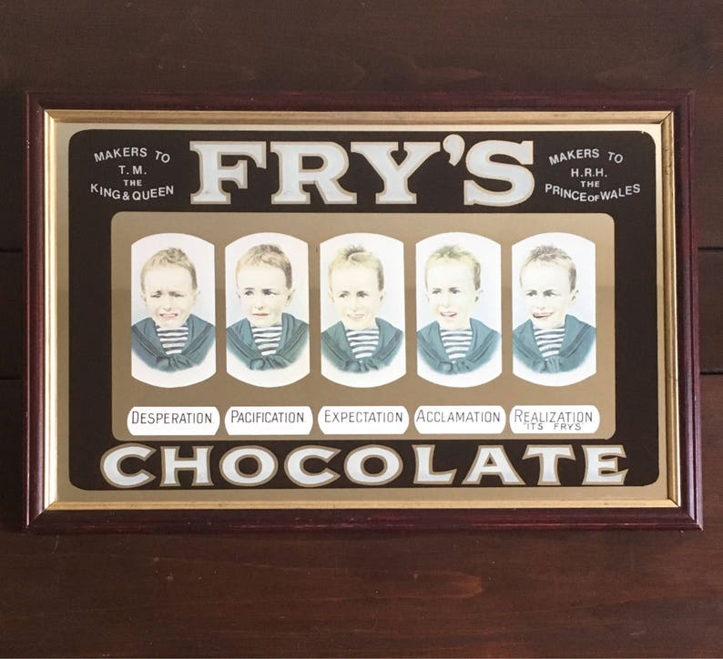 Antique Frys Chocolate Five Boys Mirror Advert In Wood Frame 205 X 135