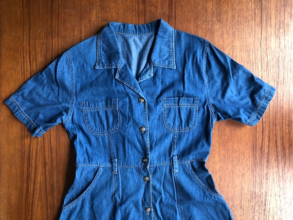 Vintage Button Up Collared Blue Denim Dress - Wome