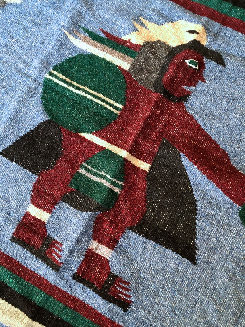Vintage Mexican Falsa Blanket with Warrior Design 79 x 45