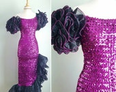 Vintage 1980s fuschia pink purple sequin party long dress, formal gown, organza puff ruffle sleeves and hem, hourglass stetch, small