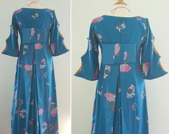 6feeb0f1e Vintage 1960s Alfred Shaheen dress, Hawaiian pake muu, kimono style bow,  60s tiki, tropical, fan print, blue, gold, pink, purple floral