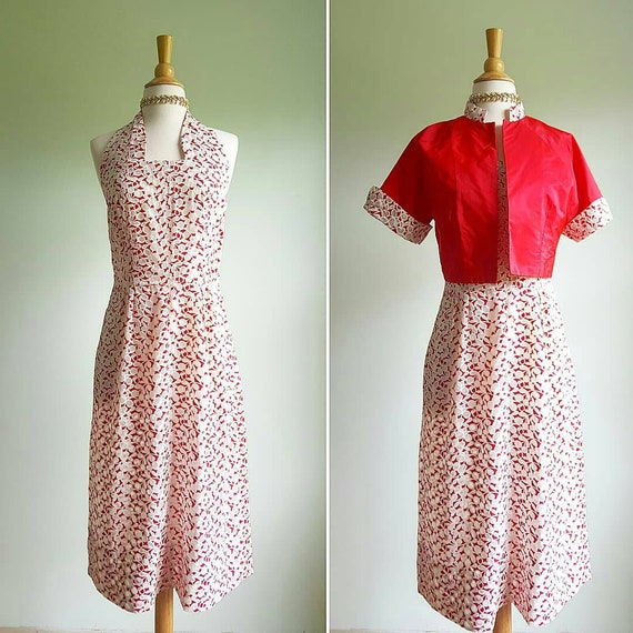 Vintage 1930s 1940s halter dress and jacket, red a