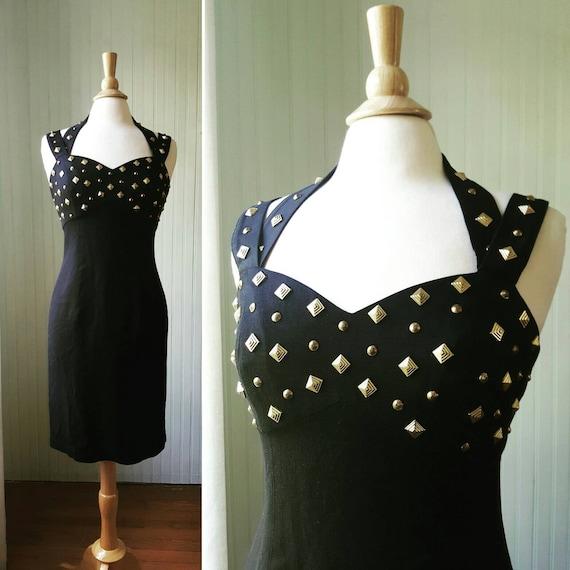 Vintage 1990s halter dress, gold studded rivets, s
