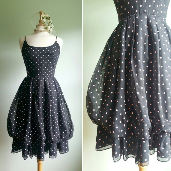 1980\u2019s does 1950\u2019s C/&A black and white polkadot dress