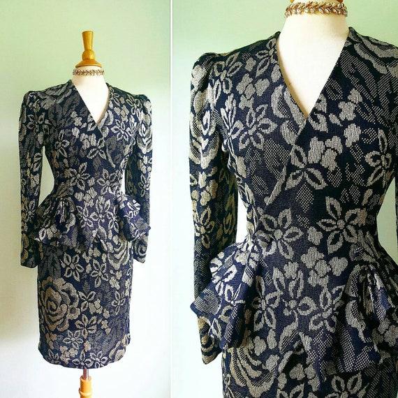 Vintage 1980s does 1940s skirt suit, blazer peplum