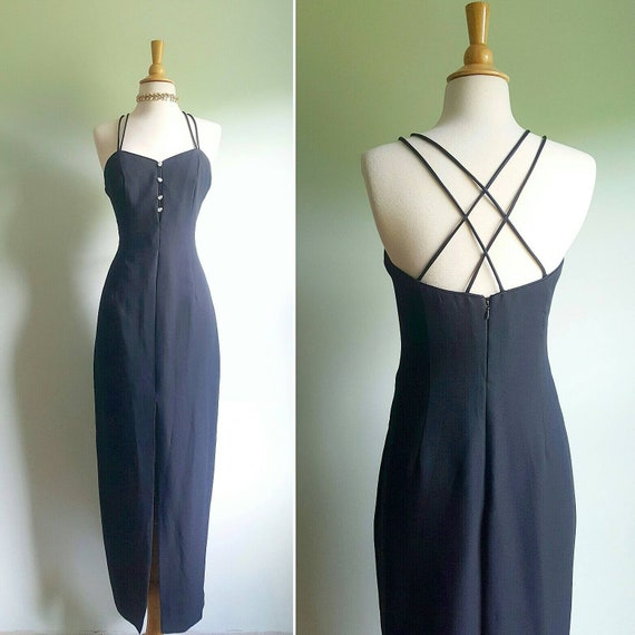 Vintage 1990s does 1960s black strappy hourglass c