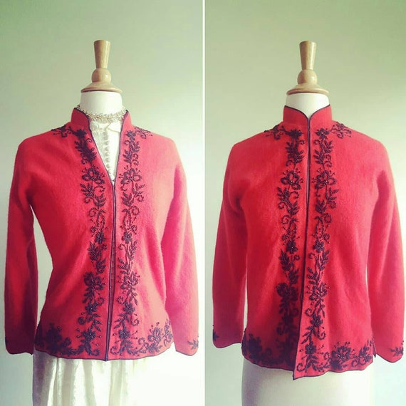 RESERVED | Vintage 1950s red angora beaded dress c