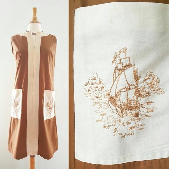 Vintage 1960s 1970s day dress, house dress, smock,