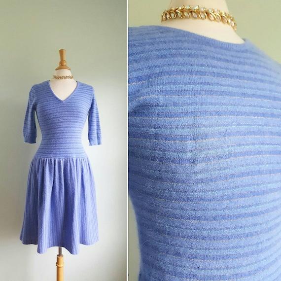 Vintage angora stretch sweater dress, periwinkle p