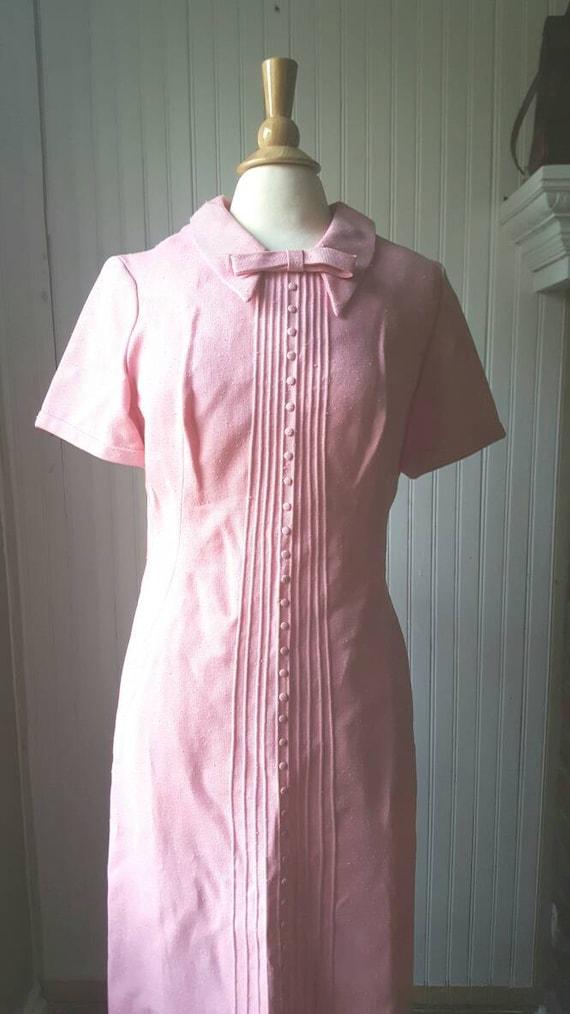 Vintage 1960s 60s pink dress, Peter Pan collar wi… - image 4