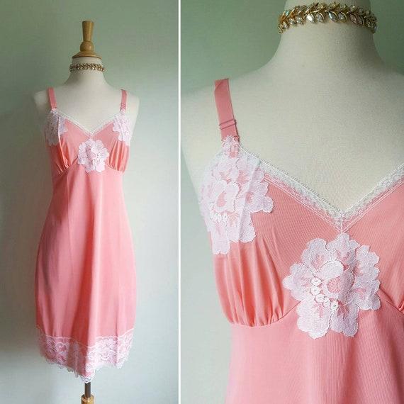 Vintage coral salmon pink slip, white floral lace