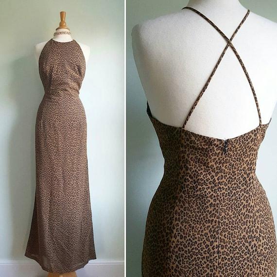 Vintage 1990s does 1950s leopard print long  dress