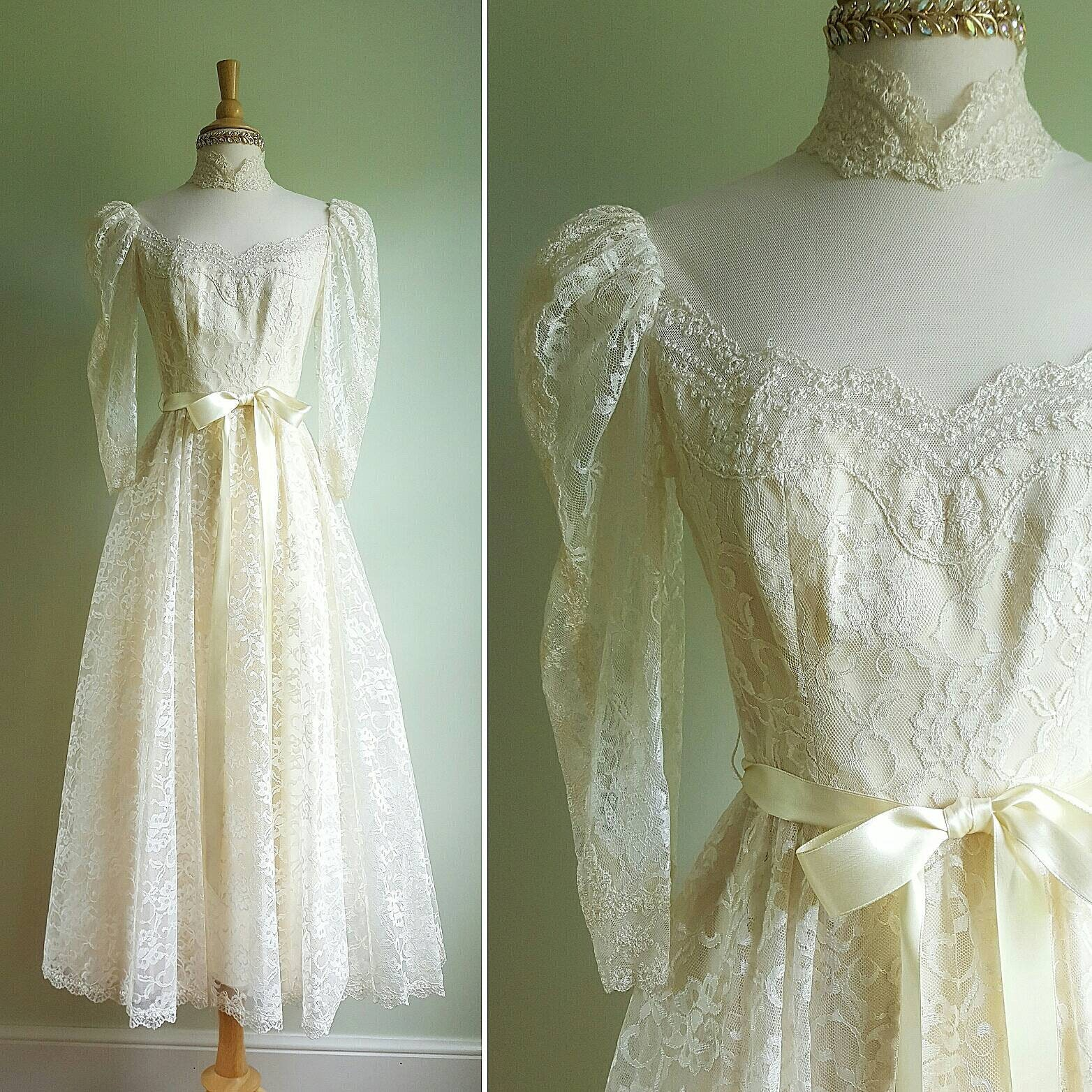 80s Dresses | Casual to Party Dresses Vintage 1970S Antique White Cream Lace Dress, Formal, Party, Wedding Gown, Puff Sleeves, High Neck, Full Skirt, Tulle, Lace, Taffeta $40.00 AT vintagedancer.com