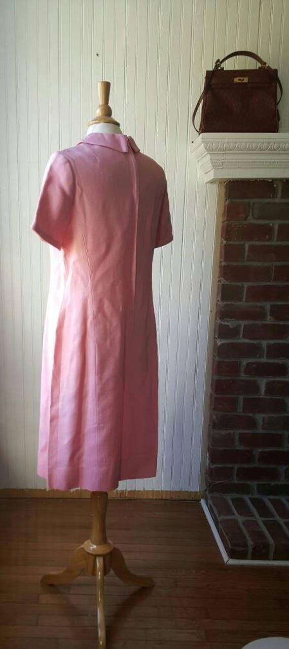 Vintage 1960s 60s pink dress, Peter Pan collar wi… - image 5