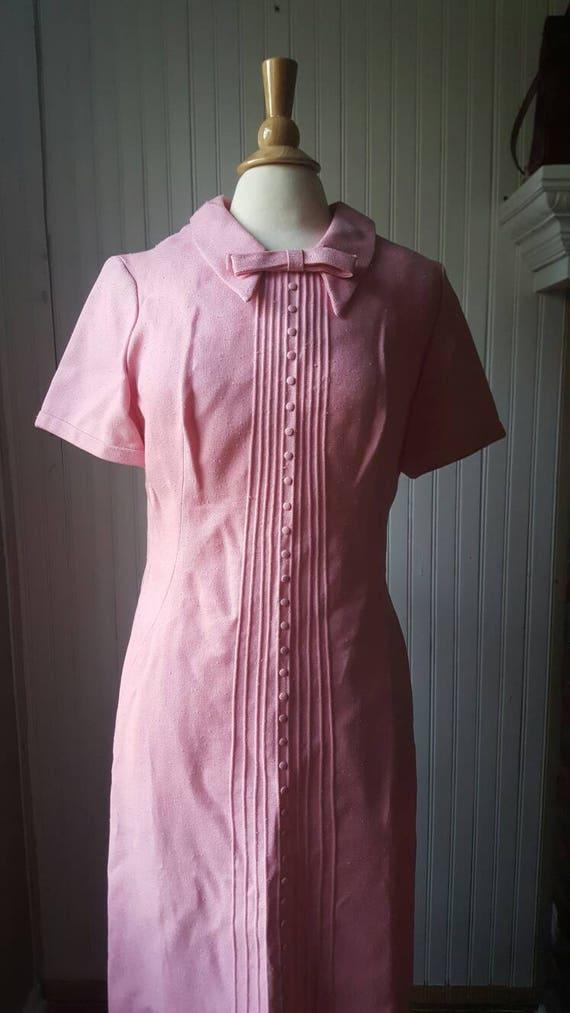Vintage 1960s 60s pink dress, Peter Pan collar wi… - image 7