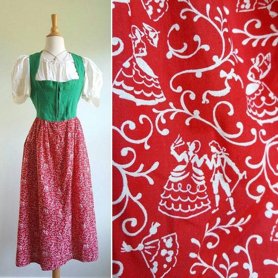 Vintage 1940s novelty print folk dirndl and matchi