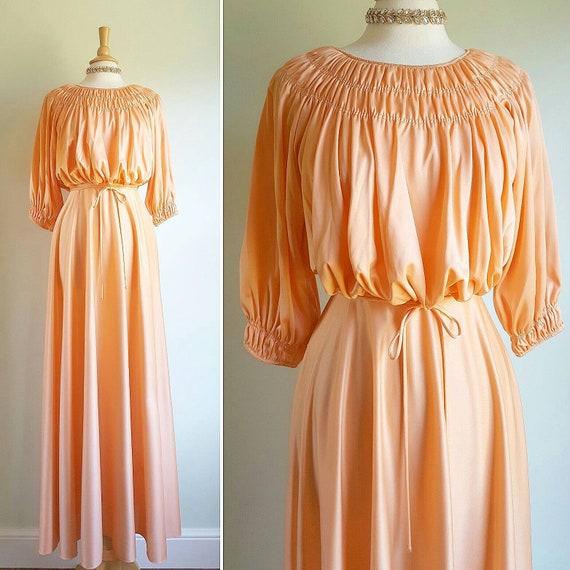 Vintage 70s does 40s Peach Cream FLORAL Print Day dress 14 16 M L 1970s Tea