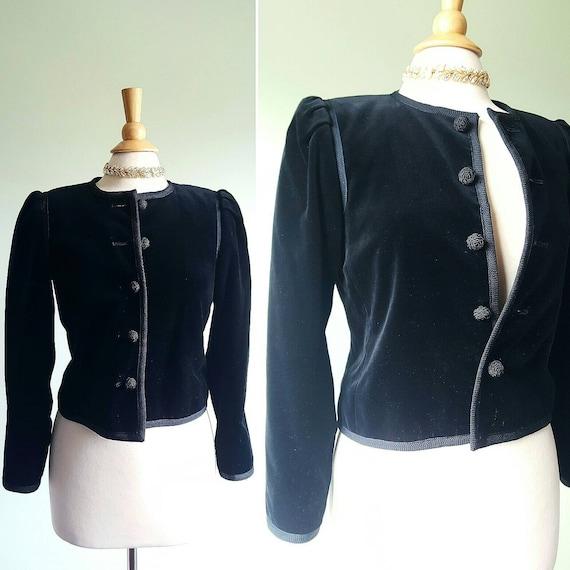 Vintage cotton velvet black dress jacket, 1980s do