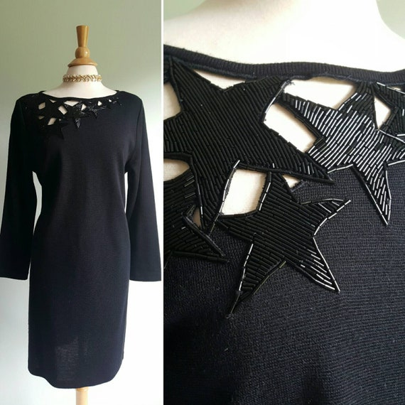 Vintage 1980s does 1940s sweater dress; beaded sta