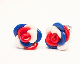 Patriotic Studs, Patriotic Earrings, Rose Studs, Rose Stud Earrings, 4th Of July Earrings, Red White & Blue, Military Homecoming