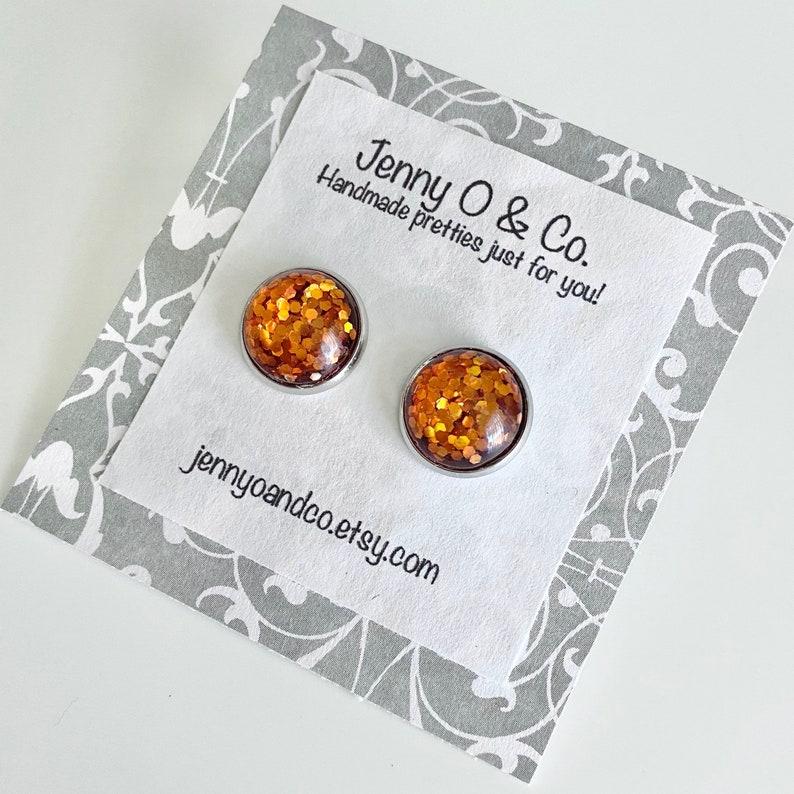 Citrine Glitter Studs Citrine Glitter Earrings November Birthstone Studs November Birthstone Earrings Citrine Earrings Burnt Orange
