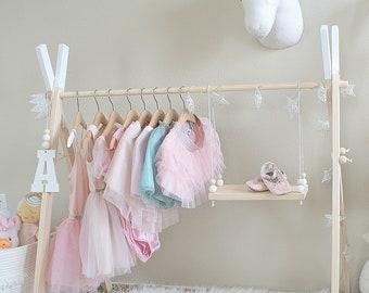 International Mini Childrens Clothing Rack || Wooden Garment Frame || Kid's Dress Up Clothes|| Baby Wardrobe Storage ||Wood Toddler Boutique
