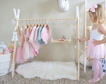 Mini Children's Clothing Rack || Wooden Pink Garment Frame || Kid's Dress Up Clothes|| Baby Wardrobe Storage || White Wood Toddler Boutique