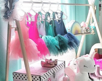 c24e10604f29 Mini Children's Clothing Rack || Wooden ballet Garment Frame || Kid's Dress  Up Clothes|| Baby Wardrobe Storage || White Wood Toddler Boutiqu