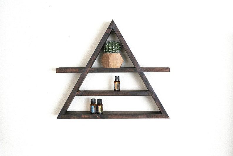 ea9bfa161681a5 Grote houten driehoek plank Etherische olie opslag Display