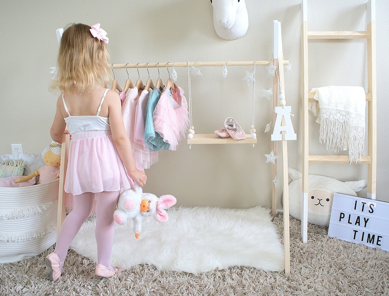 Mini Childrens Clothing Rack Wooden Ballet Garment Frame Kids Dress Up Clothes Baby Wardrobe Storage White Wood Toddler Boutiqu