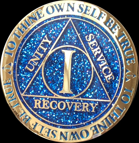 4 Year AA Medallion Blue Gold Plated Alcoholics Anonymous Sobriety Chip Coin