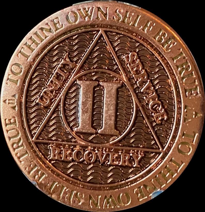 2 Year AA Medallion Copper Plated Reflex Black Design Serenity Prayer Sobriety Chip