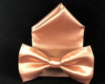 Rose gold pre-folded hand made bow tie and pocket square set