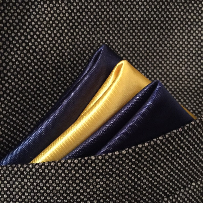 Navy and yellow hand made pocket square