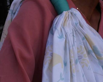 Turquoise and Ivory Baby Print Nursing Cover