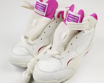 ecb1591a171e Womens Vintage 90s NIKE ELITE White and Pink Basketball Athletic Shoes Size  6.5 - New Deadstock nwot nba rap tee hip hop tees streetwear