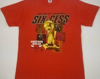 7a65cfd9cb11 Vintage 90s Chicago Bulls 1998 NBA Finals World Champions Six-Cess Red Tee  Size Large (Medium) - white sox cubs bears streetwear hip hop rap
