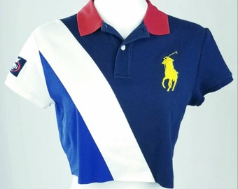 Vintage 90s Reflective Polo Sport RL67 Crewneck Sweatshirt Crop Top Made In Japan Pullover Jumper Size M