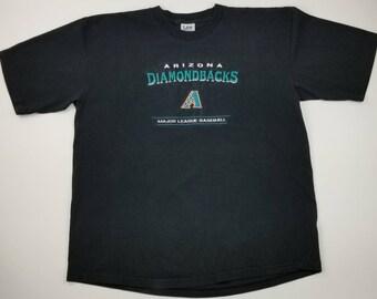 caac1f7dc Vintage 90s Arizona Diamondbacks MLB Lee Sport (Black and Teal) Baseball T-shirt  Size 2XL - urban streetwear hip hop rap tee phoenix suns