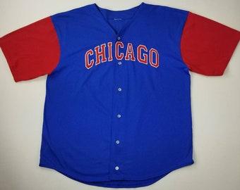 9e58857d2 Vintage 90s Chicago Cubs Sammy Sosa  21 MLB Blue and Red Baseball Jersey Sz  XL - bulls blackhawks bears white sox streetwear hip hop rap tee