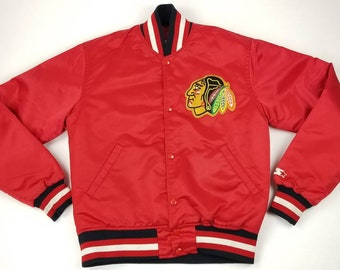 b6dddf70cf6c82 Vintage 90s Chicago Blackhawks NHL Red Satin Starter Jacket Size Small -  bulls bears cubs white sox streetwear hip hop rap tee bomber flight